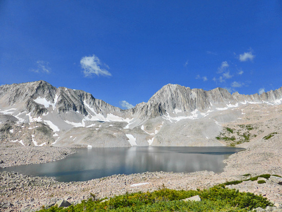 The largest of three lakes in the Pierre Lakes basin